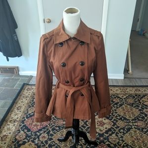 Express copper brown double breasted trench coat